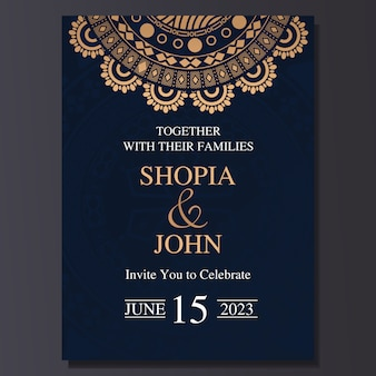 Elegant wedding invitation card with mandala ornament.