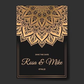 Elegant wedding invitation card with mandala template