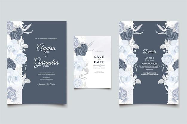 네이비 블루 아름다운 꽃과 잎 템플릿 우아한 결혼식 초대 카드