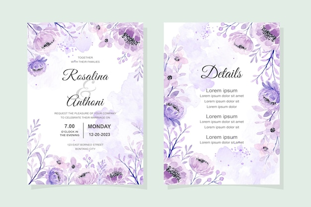 Elegant wedding invitation card with soft purple floral watercolor