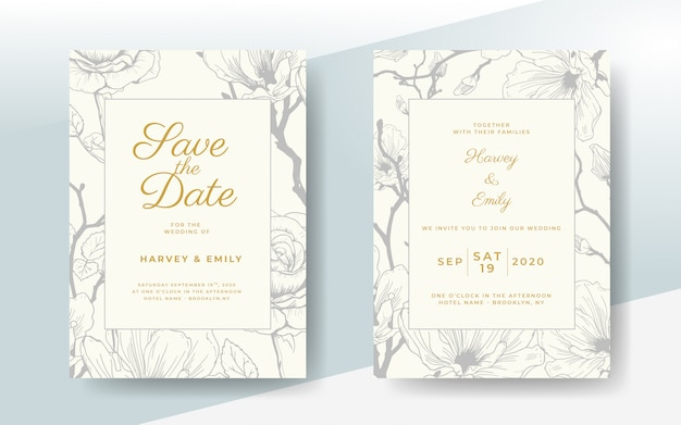 Elegant wedding invitation card with vector floral frame