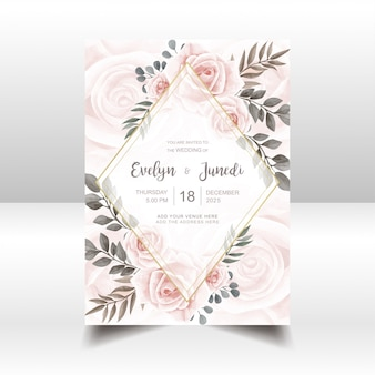 Elegant wedding invitation card with watercolor floral and golden frame