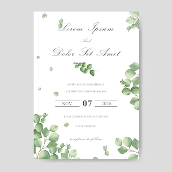 Elegant wedding invitation card with watercolor leaf