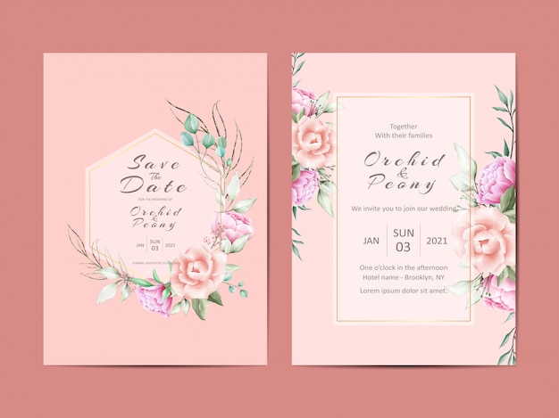 Elegant wedding invitation cards  of peonies and roses