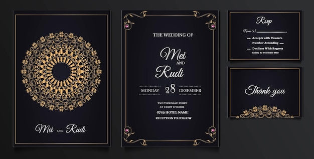Elegant wedding invitation cards set