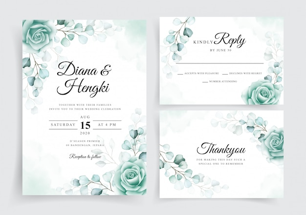 Elegant wedding invitation cards template set with watercolor eucalyptus
