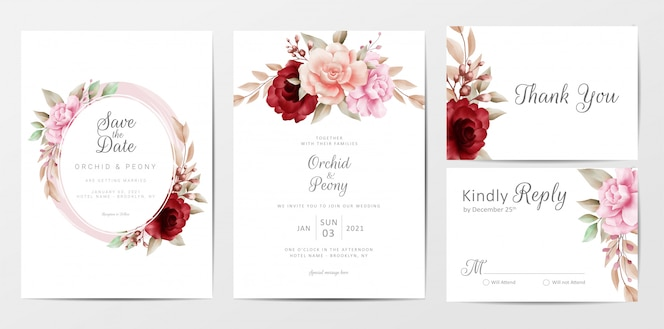 Elegant wedding invitation cards template set with watercolor flowers decoration