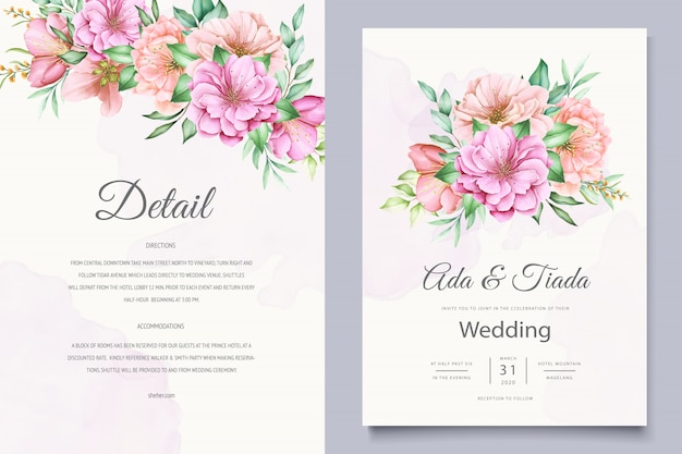 Elegant wedding invitation cards template with watercolor cherry blossom design