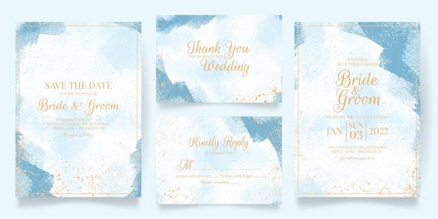 水彩画の装飾が施されたエレガントな結婚式の招待カードテンプレート