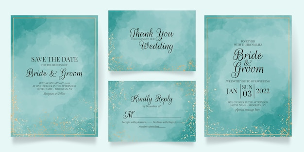 Elegant wedding invitation cards template with watercolor decoration