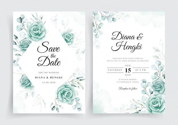 Elegant wedding invitation cards template with watercolor eucalyptus