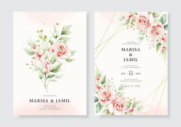 水彩花の花束とエレガントな結婚式の招待カードのテンプレート