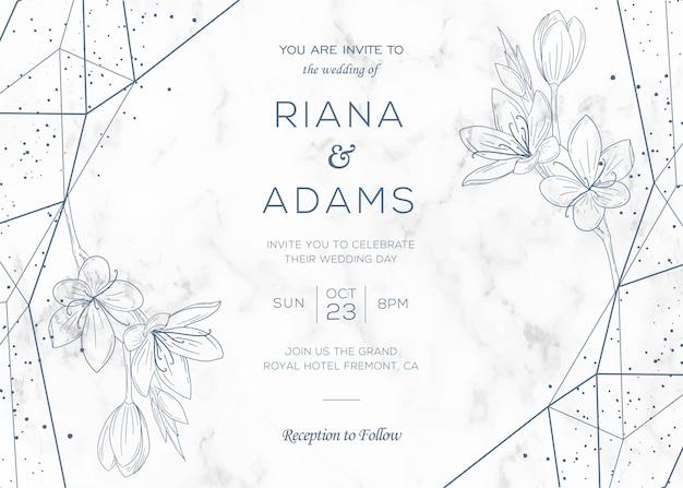 수채화 꽃 장식으로 우아한 결혼식 초대 카드 템플릿