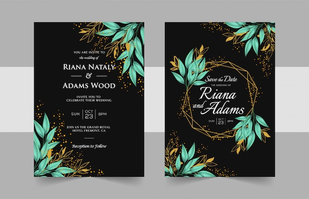 Elegant wedding invitation cards template with watercolor floral decoration