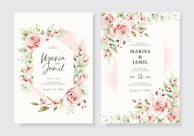 水彩花飾りのエレガントな結婚式の招待カードテンプレート