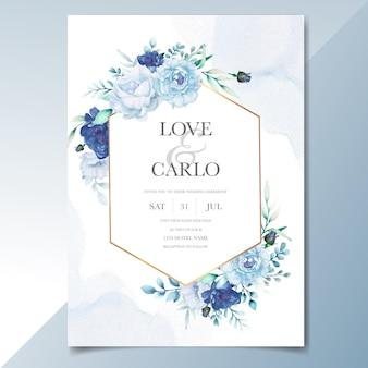 Элегантные свадебные приглашения шаблон с акварелью цветок и листья