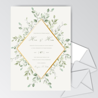 水彩画の葉を持つエレガントな結婚式の招待カードテンプレート