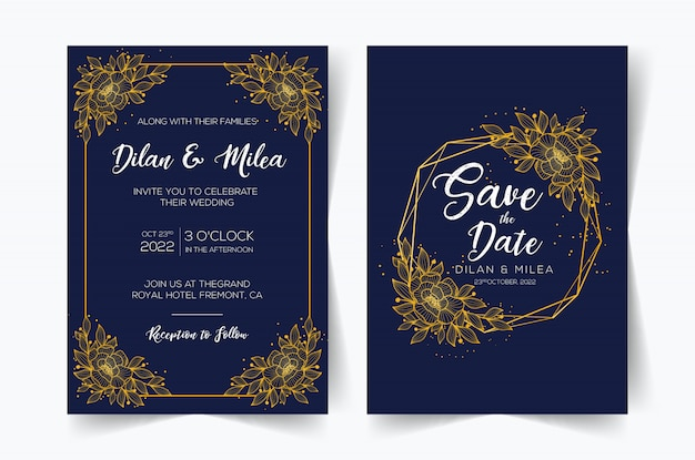 Elegant wedding invitation cards template