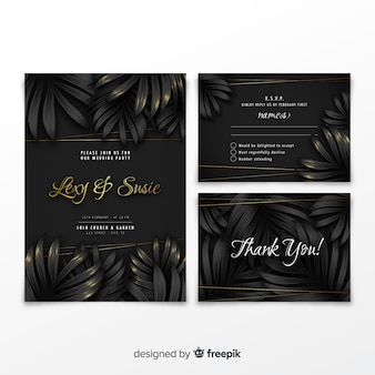 Elegant wedding invitation collection with tropical leaves
