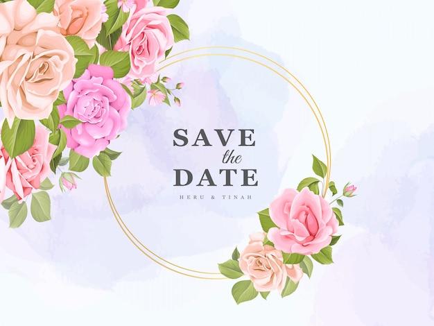 Элегантный дизайн свадебного приглашения с цветочным мотивом
