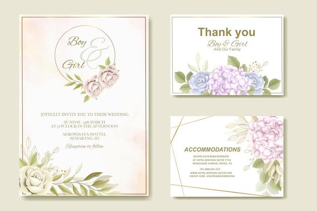 エレガントな結婚式の招待状の花柄