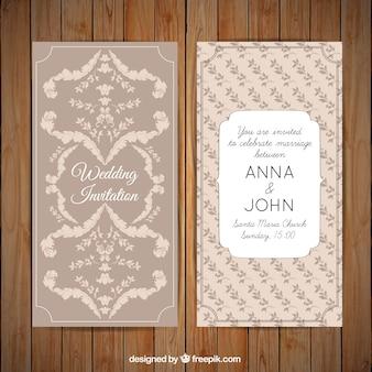 ヴィンテージスタイルのエレガントな結婚式の招待状