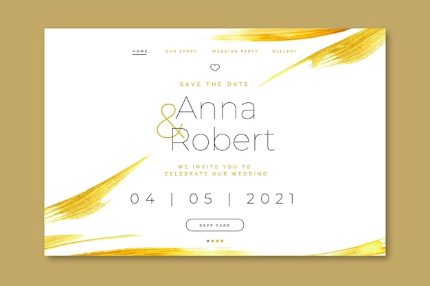 Elegant wedding invitation landing page