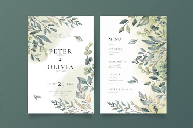 Elegant wedding invitation and menu template