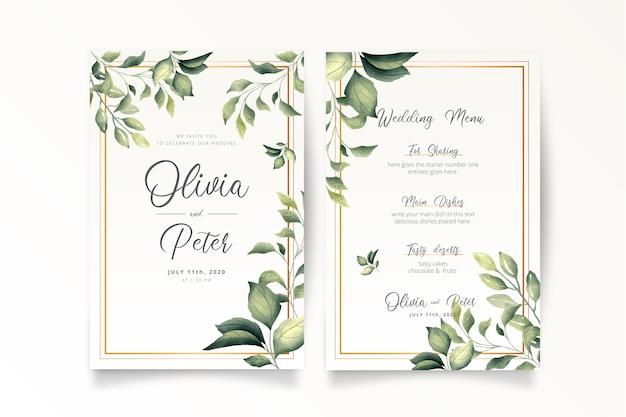 Modello di invito e menu matrimonio elegante