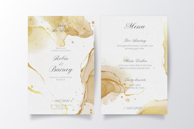 Elegant wedding invitation and menu template