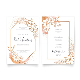Elegant wedding invitation & menu with golden ornaments