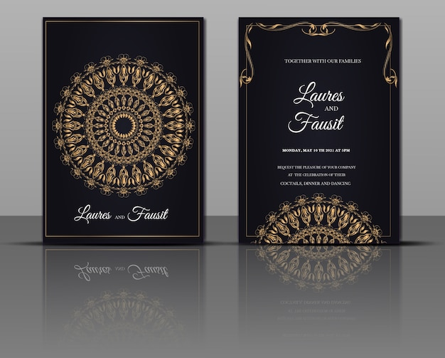Elegant wedding invitation monoline card