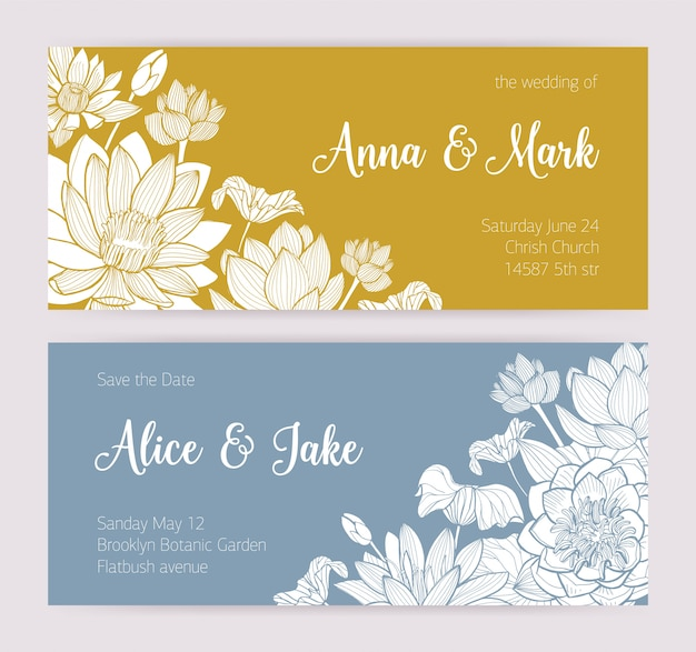 Elegant wedding invitation or save the date card templates with beautiful blooming lotus flowers