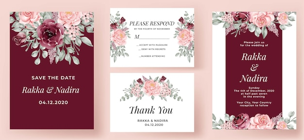 Elegant wedding invitation set burgundy and pink rose