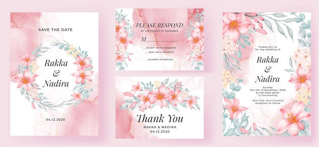 Elegant wedding invitation set pink lily watercolor