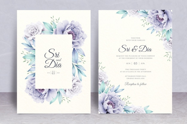 Elegant wedding invitation set template with floral watercolor