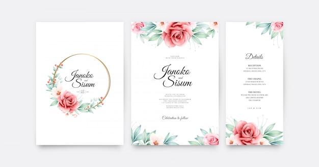 エレガントな結婚式の招待状は、バラflowes水彩画とテンプレートを設定