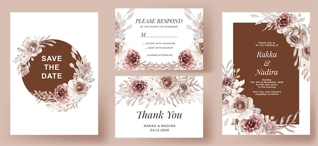 Elegant wedding invitation set terracotta flower