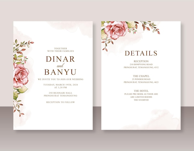 花の水彩画で設定されたエレガントな結婚式の招待状