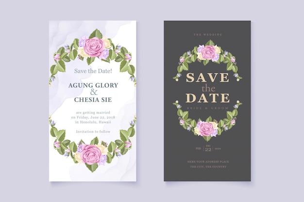バラ入りエレガントな結婚式の招待状