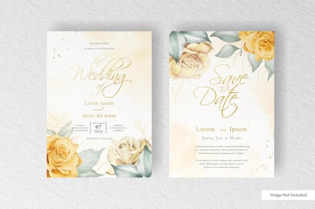 Элегантное свадебное приглашение с акварельным цветком и листьями