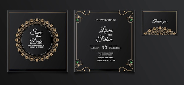 Elegant wedding invitation template design set