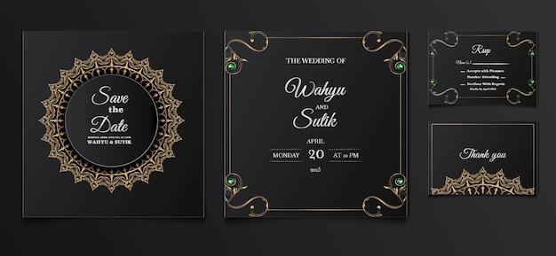 エレガントな結婚式の招待状のテンプレートデザインセット
