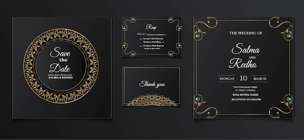 Элегантный дизайн шаблона свадебного приглашения set