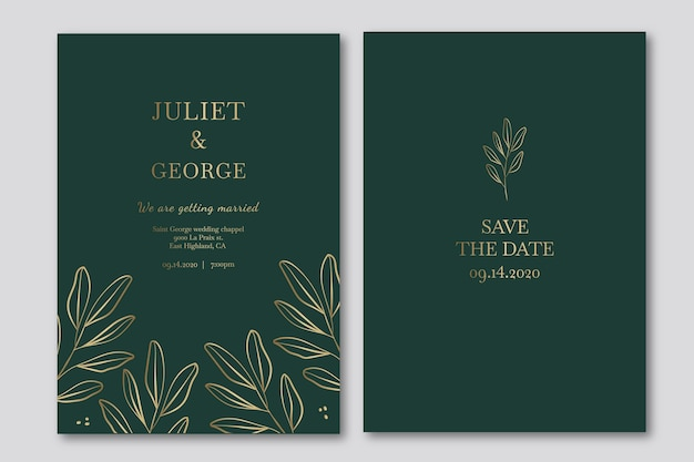 Elegant wedding invitation template in green tones