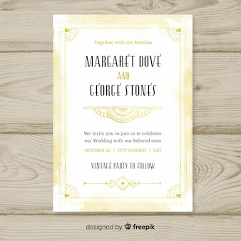 Elegant wedding invitation template in art deco style