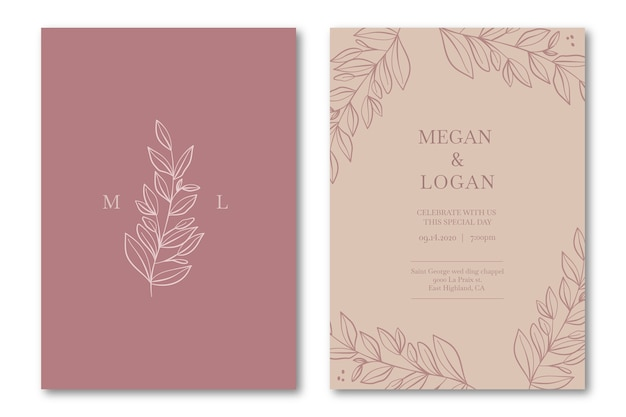 Elegant wedding invitation template in pink tones