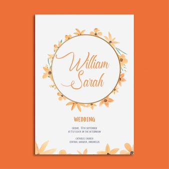 Elegant wedding invitation template set watercolor orange flowers