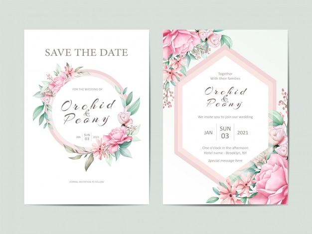Elegant wedding invitation template set of watercolor roses flowers