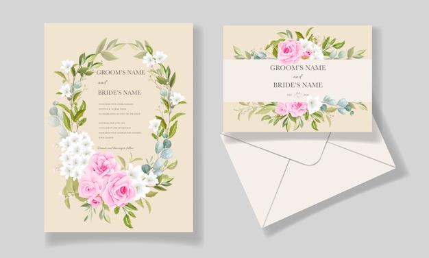 Элегантный шаблон свадебного приглашения с красивой цветочной рамкой и бордюром